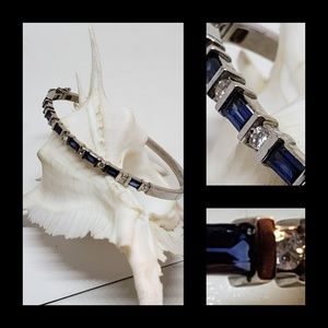 Jewelry - 14K Solid White Gold Sapphire and White Bracelet
